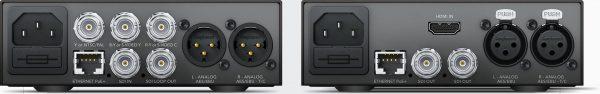 放送用インターフェース XLRオーディオ、イーサネット、内蔵IEC AC電源